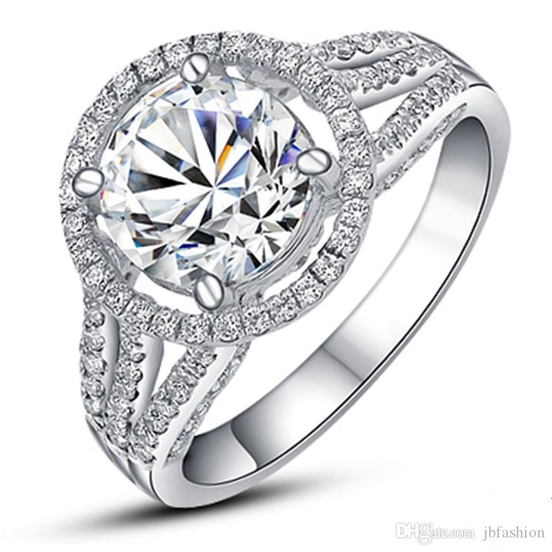 f6c94e219 2019 Charming 2 CT SONA Synthetic Diamond Ring For Women Halo 925 Sterling  Silver Engagement Wedding Jewelry Platinum Plated Ring Pt950 Stamped From  ...