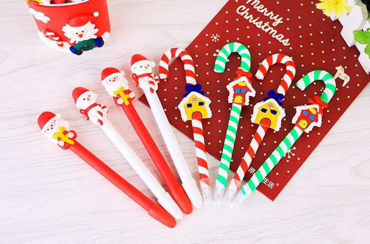200CPS Christmas Gift Polymer Clay Ballpoint Pen Students Prize Creative Stationery Cartoon For Child 40th Birthday Party Favors 50th
