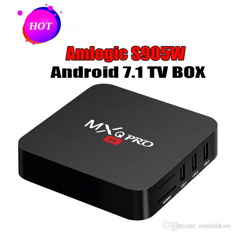 1 PCS MXQ Pro 4K Android 7.1 TV Box Amlogic S905W Quad Core 4K HD Smart Mini PC 1G 8G Wifi H.265 Smart Media Player