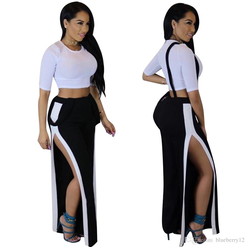 4870df73d21 2019 Sexy Night Club Tracksuit Short Crop Top With High Waist Spilt Pants  Set Casual Women Wear For Summer From Blueberry12