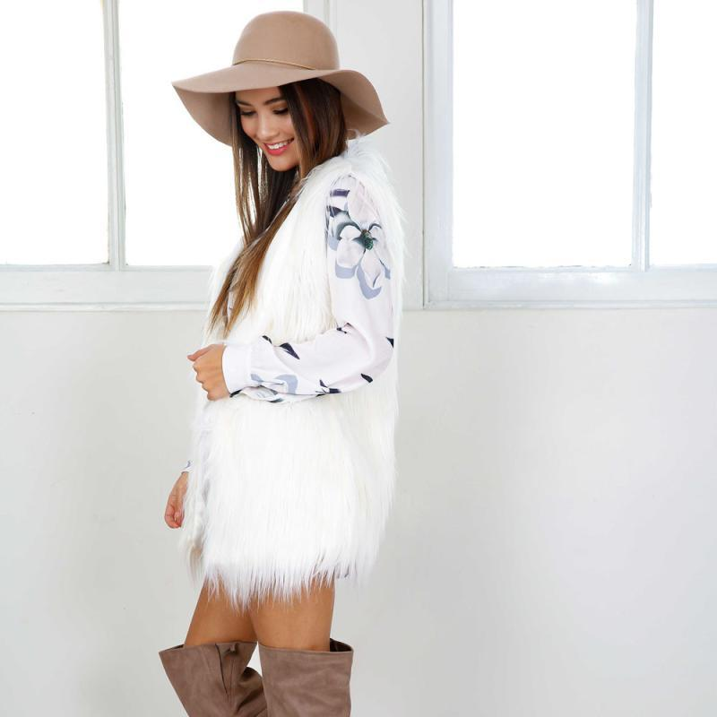 Womail Womens Warm Outwear Women Sleeveless White Slim Vest Faux Fur Waistcoat Jacket Coat Cardigan woman vest 2018 L30726