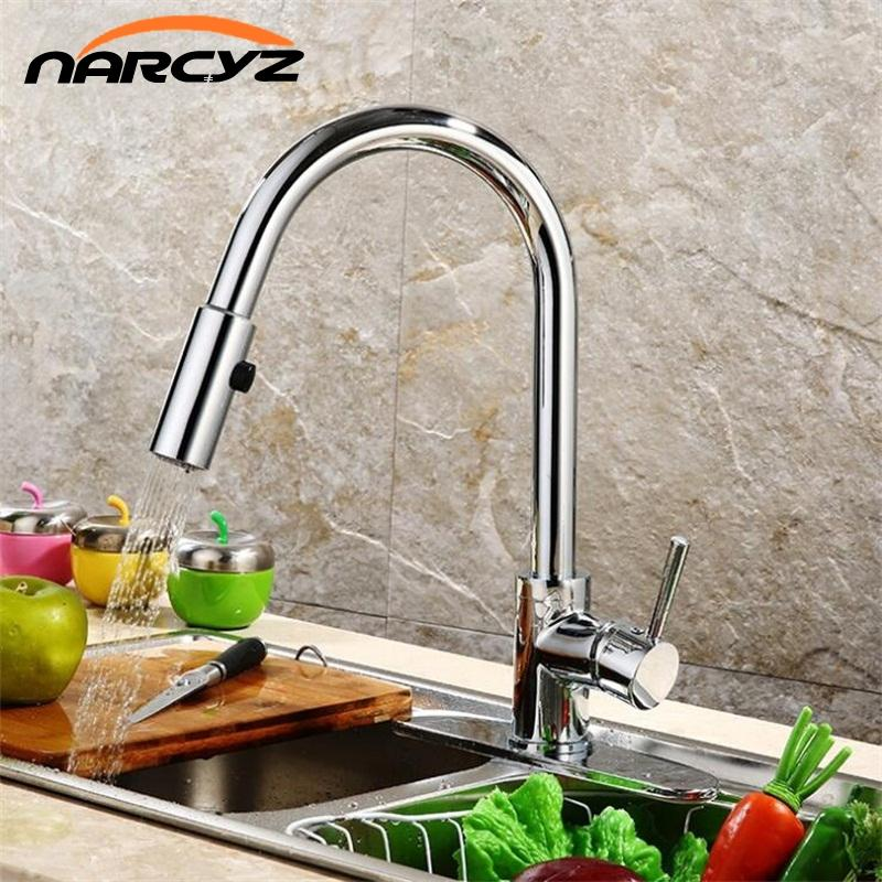 Best Quality Wholesale And Retail Pull Out Brass Low Pressure Kitchen  Faucet Black Colour Deck Kitchen Tap Mixer Pull Up XT-59