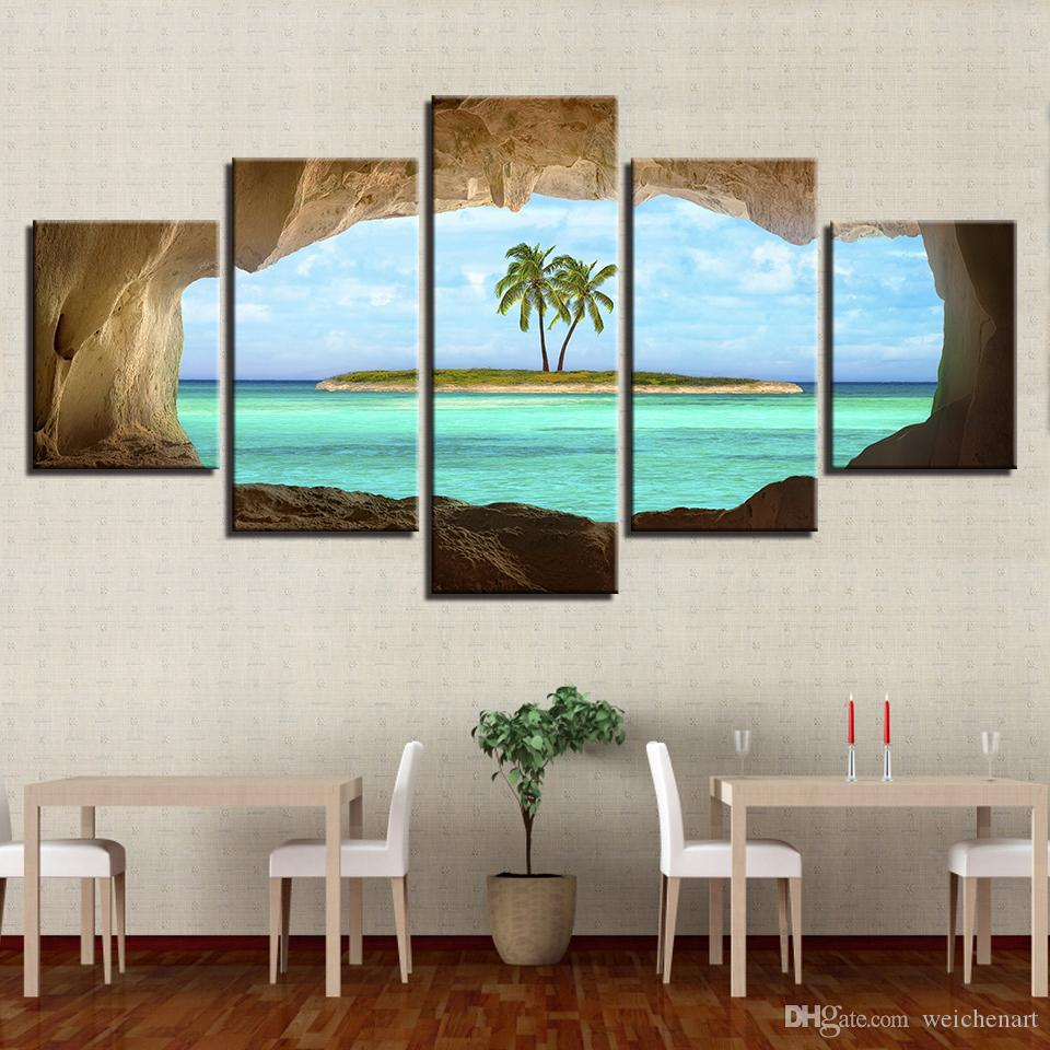 Canvas Pictures Home Decor HD Prints Posters Cave View For A Coconut Tree On Island Ocean Paintings Wall Art Framework