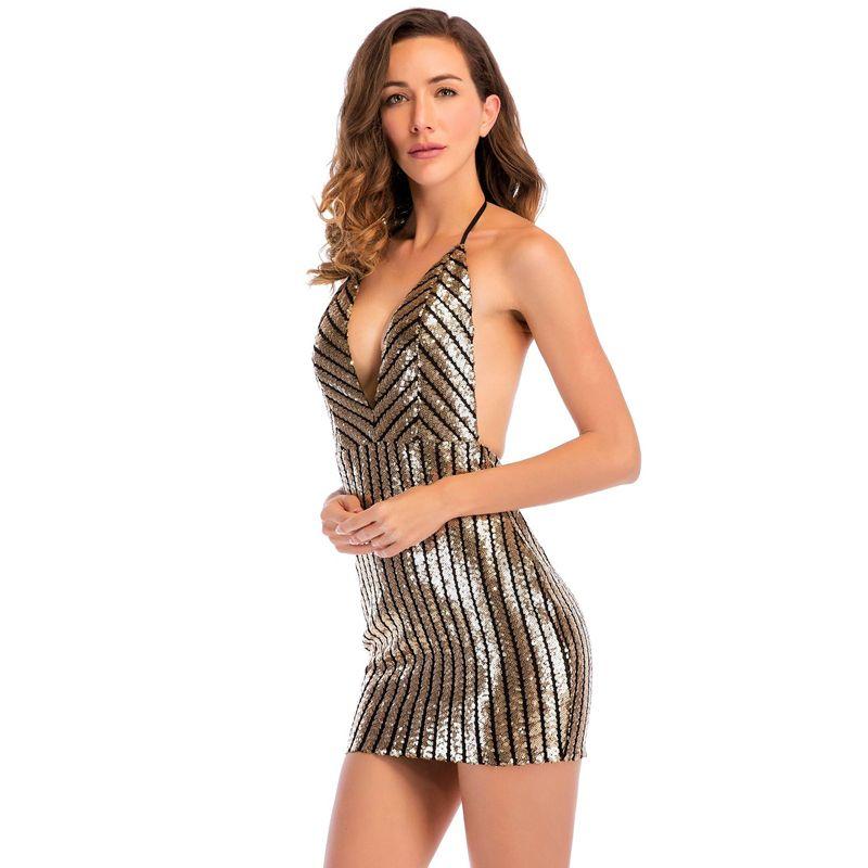 d1051098a33 2019 Sexy Striped Mini Bodycon Dresses Women Ladies Summer Cocktail Dresses  V Neck Backless Halter Sequins Dress Mini Club Dress LJH0409 From Hhwq105