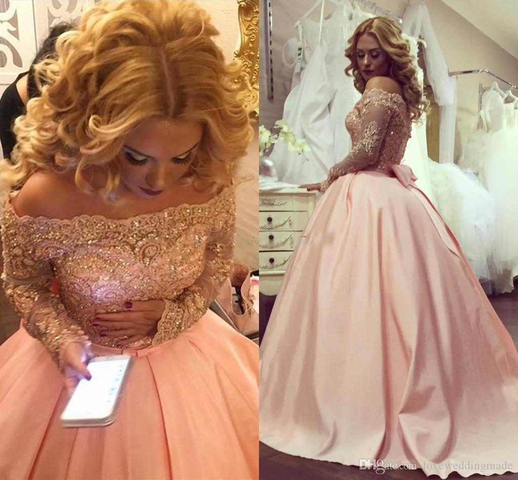 2018 Elegant Blush Pink Bateau Neck Long Sleeves Prom Dresses Applique Lace Satin Ball Gown Formal Evening Dress Plus Size Sparkly