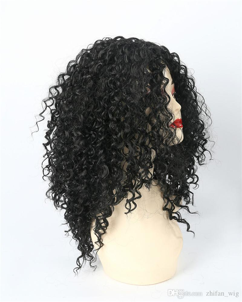 Le parrucche ricci di ZF cercano le donne nere Afro crespi ricci parrucca nera stili lanuginoso spedizione gratuita in fibra coreana