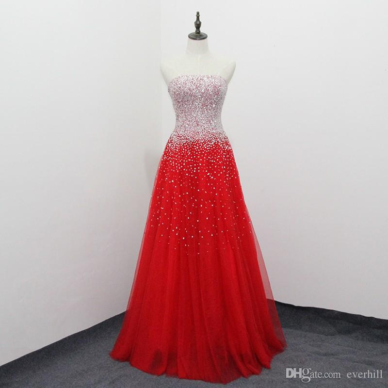 Shiny Red Evening Dresses with Bling Sequin Beaded Long Evening Wear Gowns A-Line Strapless Sleeveless Floor Length Tulle Formal Party Dress