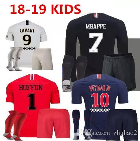 dd0593ecf 2019 2018 2019 Kids Kit Soccer Jerseys 18 19 Mbappe Home VERRATTI CAVANI  Child Buffon RED Psg SHIRT Champions League Kids Uniforms Set From Zhuhao2