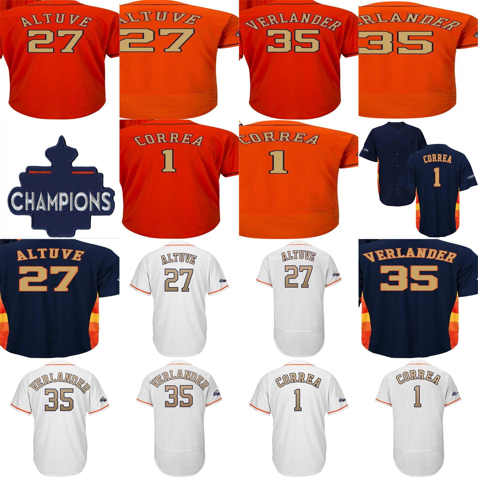 fa98cef3e Cheap 2018 Gold Program Carlos Correa 27 Jose Altuve 35 Justin Verlander  Men Lady Kids Houston 2017 WS Champion Patch Cool Flex Baseball Jerseys