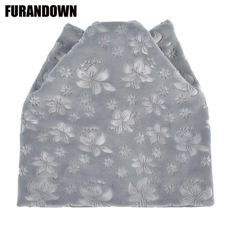 Flannel Beanies Autumn Winter Women s Beanie Hat for Girls Cat Ears  Skullies Cap Flower Print Warm Hats Skullies   Beanies Cheap Skullies    Beanies Flannel ... 5487660b3a09