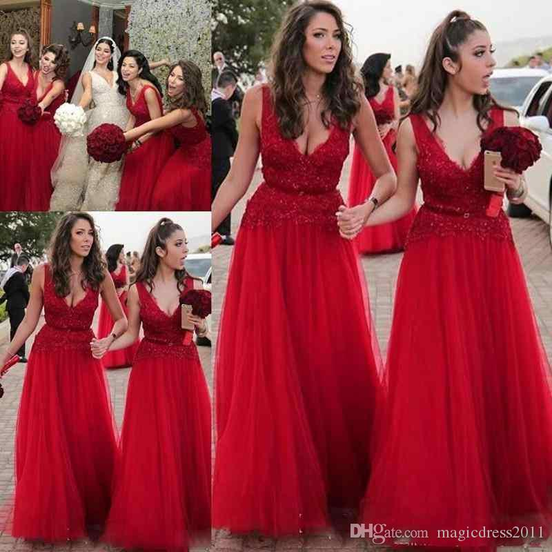 2019 V-Neck Sleeveless Backless Tulle and Lace A-line Bridesmaid Dresses Floor Length Red Bridesmaids Dresses with Ribbons