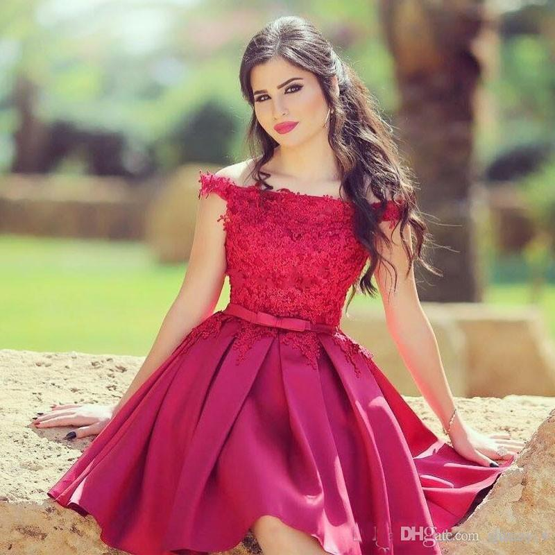 622dae49fc Dark Red Short Prom Dresses Under  100 Cheap Off Shoulder Lace A Line Satin  Satin 2018 Arabic Party Gowns Junior 8th Grade Homecoming Dress Short Formal  ...