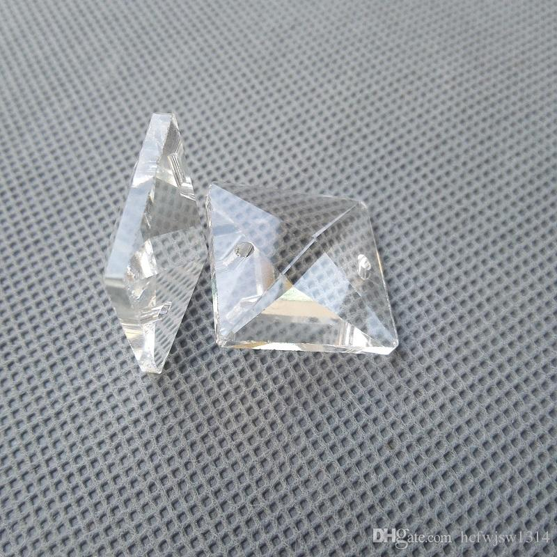 22 22mm Machine Grinding Clear Square Crystal Beads Prism Diy Chandelier Lamp In 2 Holes Home Curtain Accessories Cr