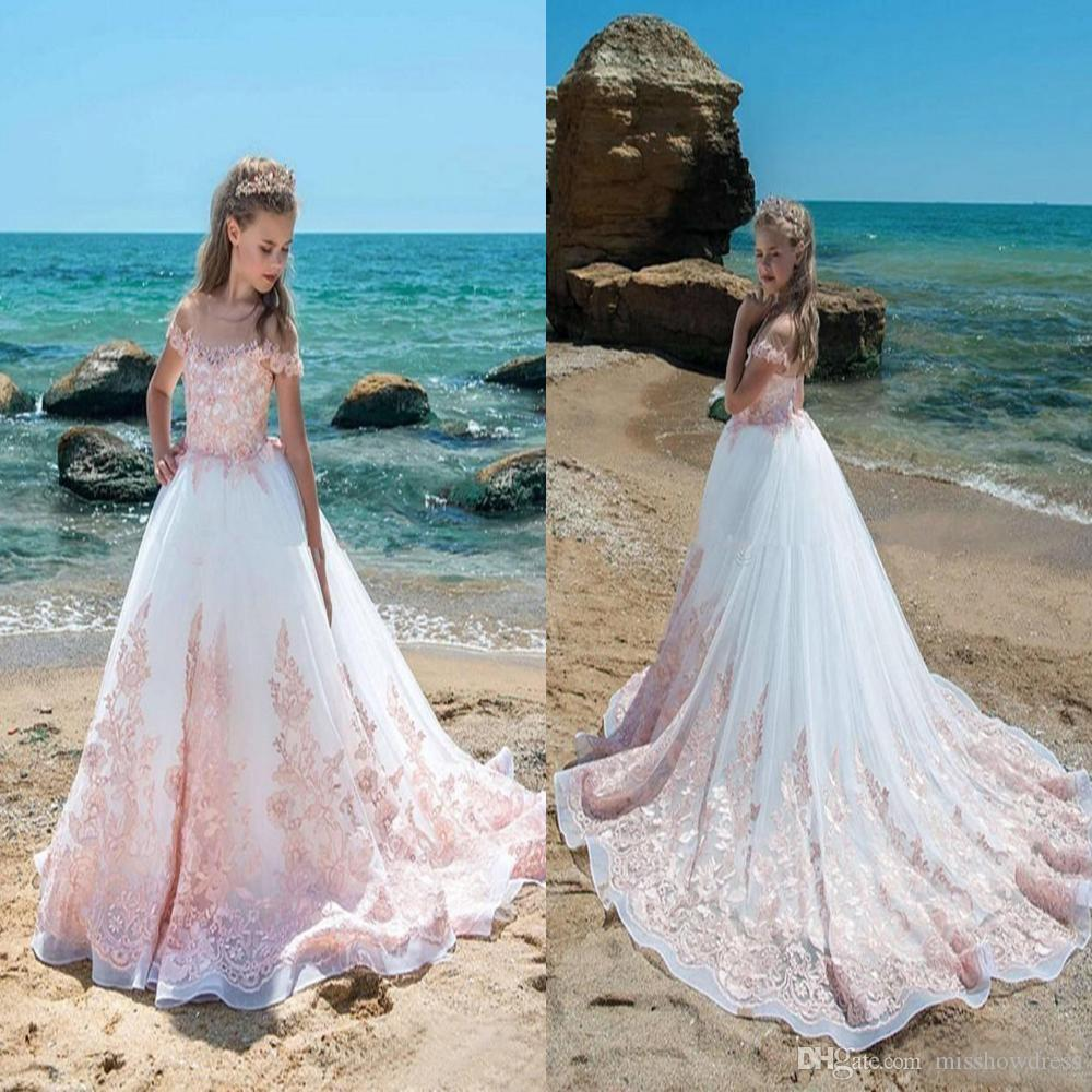 2018 Cute Pink Ivory Flower Girls Dresses Sheer Neck Cap Sleeves ...