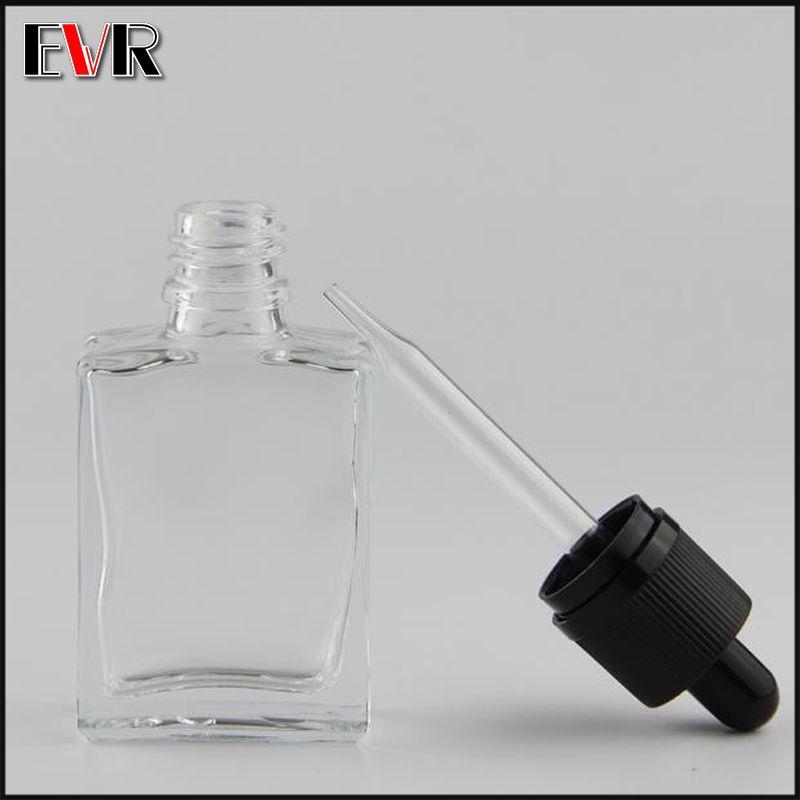 childproof 및 tamperproof 모자와 함께 1oz 투명한 검은 사각형 유리 dropper 병 30ml 전자 액체 병 제조