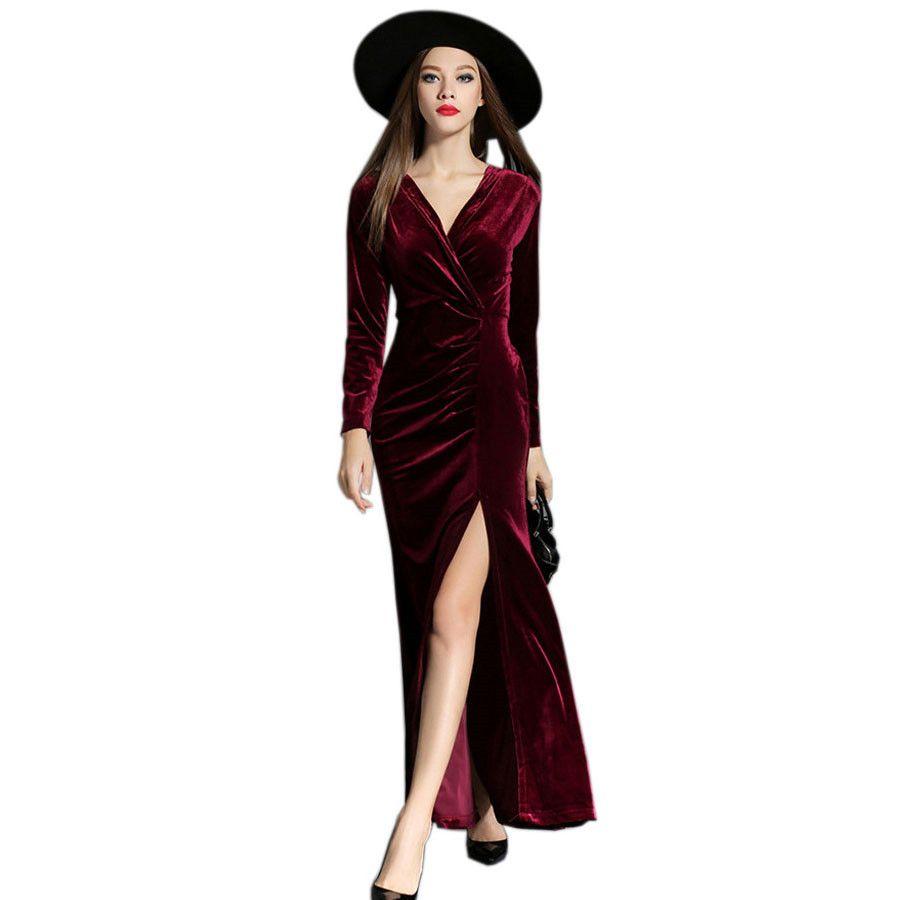 d29a3a31b43 Acheter 2018 Robe De Défilé Printemps Hiver Robes De Soirée Robe De Velours  Rouge Femmes Sexy Haute Split Longues Robes Maxi Robe Longo De  30.15 Du ...
