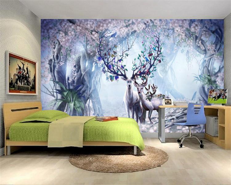 Printed Flower Deer Series 3d Wallpaper Living Room Backdrop Bedroom 3d  Wallpaper Murals For Large Custom 3d Wallpaper Art Wallpaper As Wallpaper  Hd From ...
