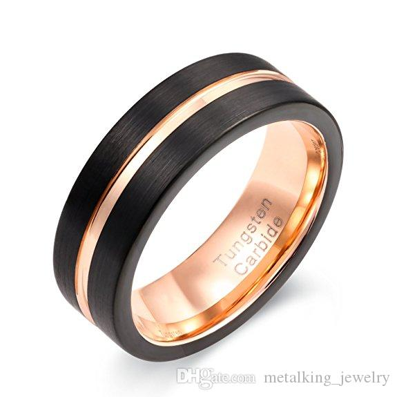 2019 Mens Womens Black Rose Gold Tungsten Carbide Ring 8mm Center