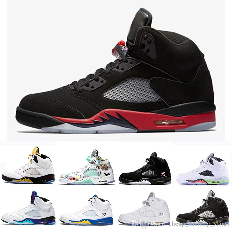 sale retailer dcb81 7228a 2018 Satin Bred Fresh Prince 5 wings 5s PSG Black men Basketball Shoes  PARIS Laney OG White Grape Space Jam mens sports Sneakers