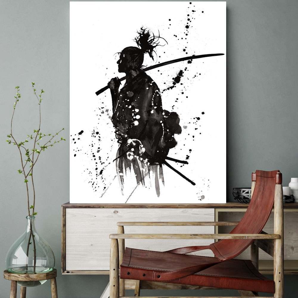 2019 Black And White Japan Portrait Wall Art Canvas Prints Painting