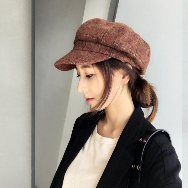 2019 Women Newsboy Cap Autumn Winter Brown Grey Felt Hats For Women Vintage  Thick Octagonal Cap Female Casual Cap From Hearting 0625a0ed0db