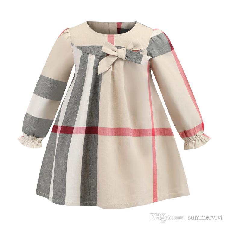 Mode Falbala Schnürschuhe Gitter Plaid Designer Kinder Kragen Mädchen Kleid Kleidung Runden F1642 Bögen Ärmel Prinzessin TlFc3K1J