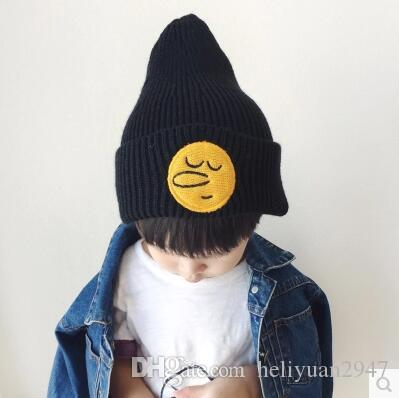 2017 and more boys and girls hat sets cartoon big nose knitting hat embroidery hat