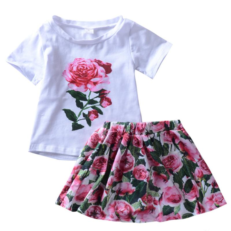 Girl Summer Suit Short-sleeved White Print T-shirt + Floral tutu Skirt 2pcs Children's Princess Costume Casual Outfit Clothing