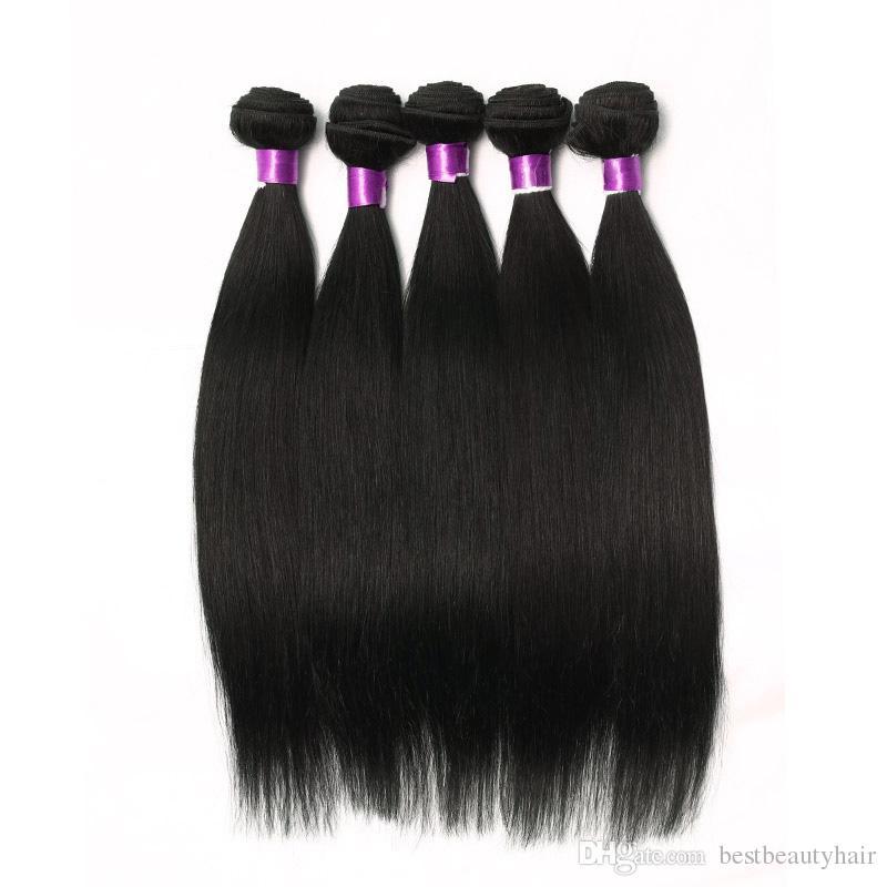 8A غير المجهزة البرازيلي مستقيم هيئة الموجة العذراء الإنسان ملحقات الشعر 3/4/5 حزم 100٪ ريمي العذراء البرازيلي بيرو الماليزية الشعر