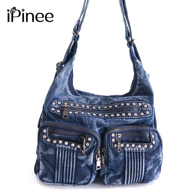 df0518eeddec IPinee Fashion Denim Jean Bags Female Multiple Pockets Shoulder Bags  Diamante Women Bags Bolsas Y18102603 Cheap Bags Cheap Designer Bags From  Gou03