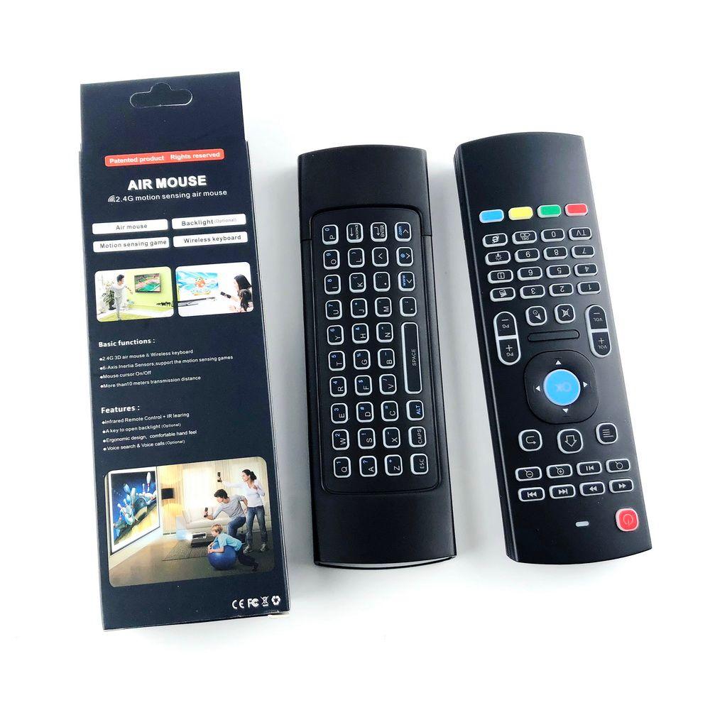 X8 Rétro-éclairage MX3 Mini Clavier Avec Apprentissage Qwerty 2.4G Sans Fil Télécommande 6Axis Fly Air Souris Rétro-Éclairé Gampad Pour Android TV Box i8