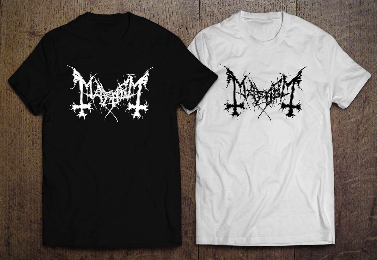 Mayhem Jan Axel Blomberg Band Logo Mens Black White T Shirt Letter