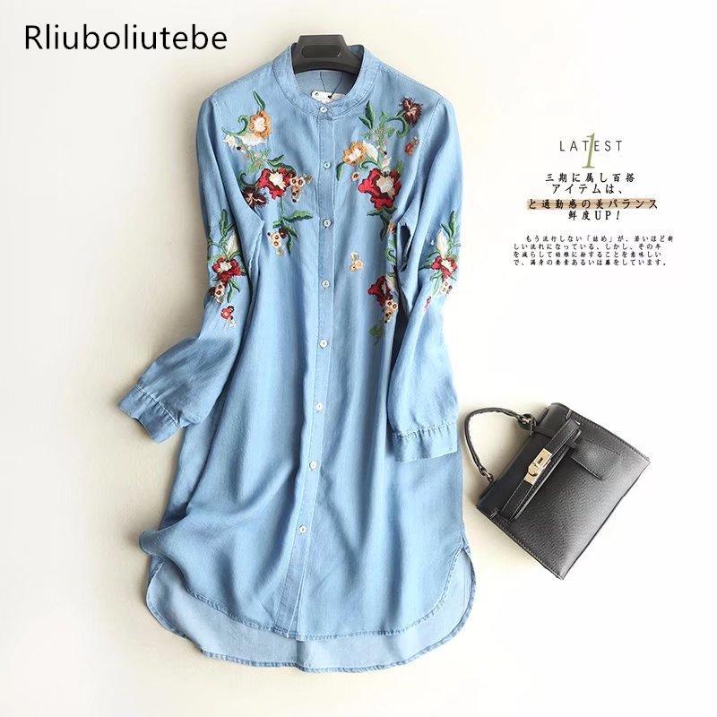 752f14728f 2019 Embroidered Soft Jeans Shirt Dress Loose Button Up O Neck Long Sleeve  Spring Summer Vestido Tencel Denim Dress Women 2018 Cotton From Silan
