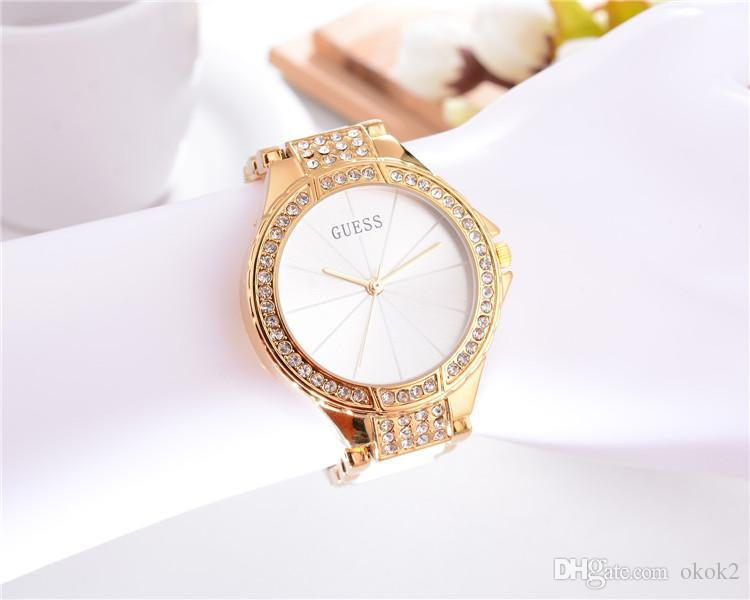 2018 Luxury Brand GUES Wome Watches Montre Femme Fashion Crystal Quartz Watches Women Gift For Ladies Reloj Mujer