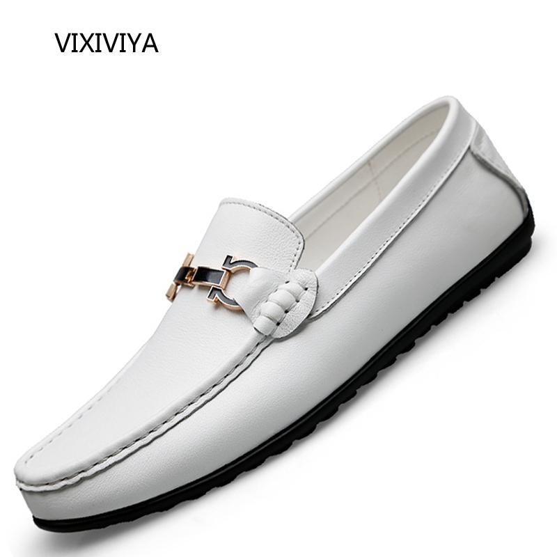 brand new e3000 cee93 Acheter 2018 Nouveaux Hommes Chaussures En Cuir Véritable Mocassins Glisser  Sur La Grande Taille Chaussure Homme Jeunesse Blanc Noir Doux Plate Forme  De ...