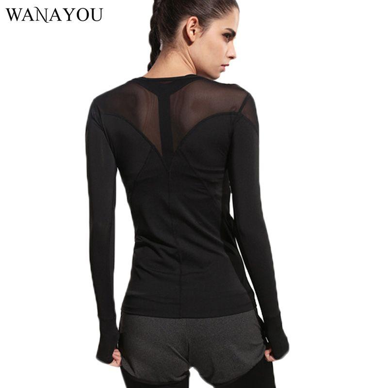 5c7d481f3 Black Patchwork Women s Running T-Shirts Yoga Shirts Gym Tights Fitness  Women Clothes Tops Sport Tee Long-Sleeve Running Shirt
