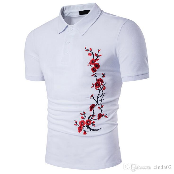 Men Pullover Shirt Summer New Fashion Rose Embroidery  Shirt New Fashion Slim s