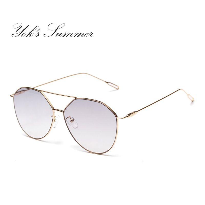 d14a218f797e3 Yok s Fashion Eyewear Sunglasses Women Brand Retro Ultralight Designer Gold  Flat Top Thin Metal Frame Glasses Female Goggles Lunette WN093