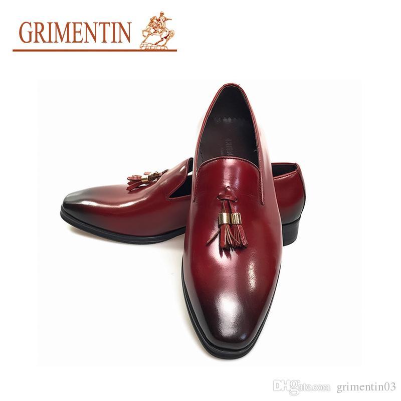 f8f94fa78 GRIMENTIN Hot Sale Men Shoes Italian Fashion Wedding Formal Business Mens  Dress Shoes Genuine Leather Brown Red Black Tassel Men Loafers Deck Shoes  Boat ...