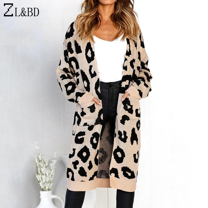 3539c0412b 2019 ZL BD Fashion Leopard Long Cardigan Coat Womens 2018 Autumn V Neck Long  Sleeve Knitted Sweater Cardigan Jaqueta Feminina ZA957 From Wenshicu