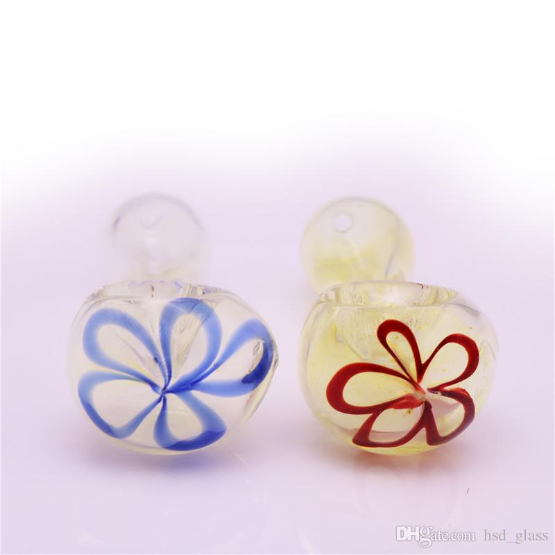 Newest 2.3 Inch Glass Smokong Pipes Inside With Flower Pattern Portable Tobacco Pipes Glass Water Pipe Hookah Pipe