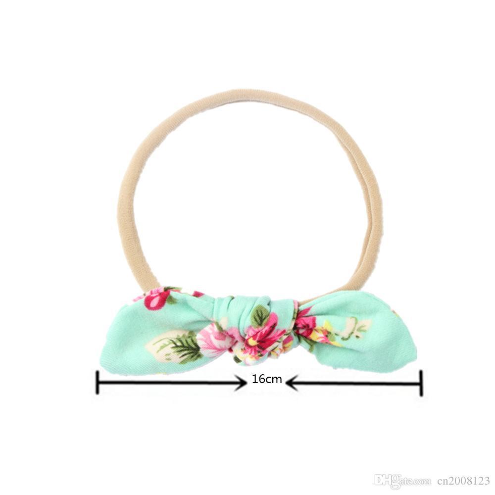 8 Cloros Baby Flower Headband Girls Nylon Bow Headwear Headbands Bunny Ear Elastic Flower Headband Children Kids Hair Accessories Print