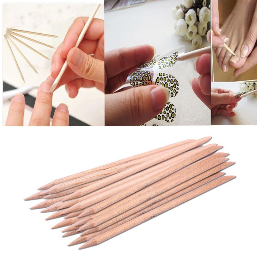 Nail Art Orange Wood Stick Cuticle Pusher Remover Pedicure Manicure ...