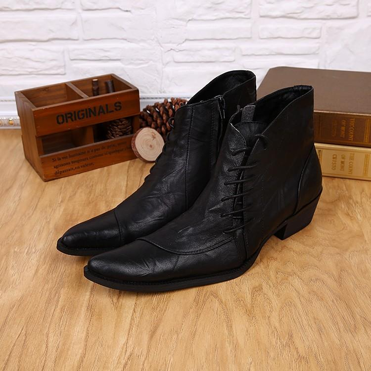 9db70b29f91 2018 Western Style Mens Ankle Boots Low Cowboy Boots Pointed toe lace up  Black high top Men Work Men Shoes