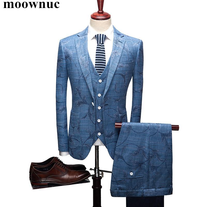 Compre Chaqueta + Chaleco + Pantalones Nuevos Trajes Hombres 2018 Moda Para Hombre  Trajes Estampados Florales Vestido De Novio De Lino De Los Hombres Del ... 3f6bfc35ce8