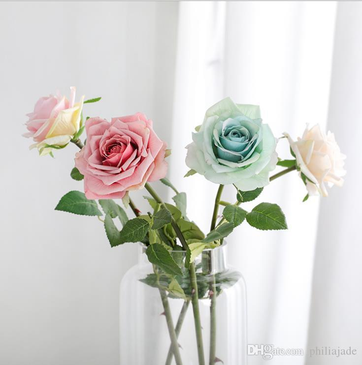 Valentine Day Single Soft Romantic Artificial Rose Flowers for Wedding Centerpieces Simulation Rose Home Garden Marketing Closet Decoration