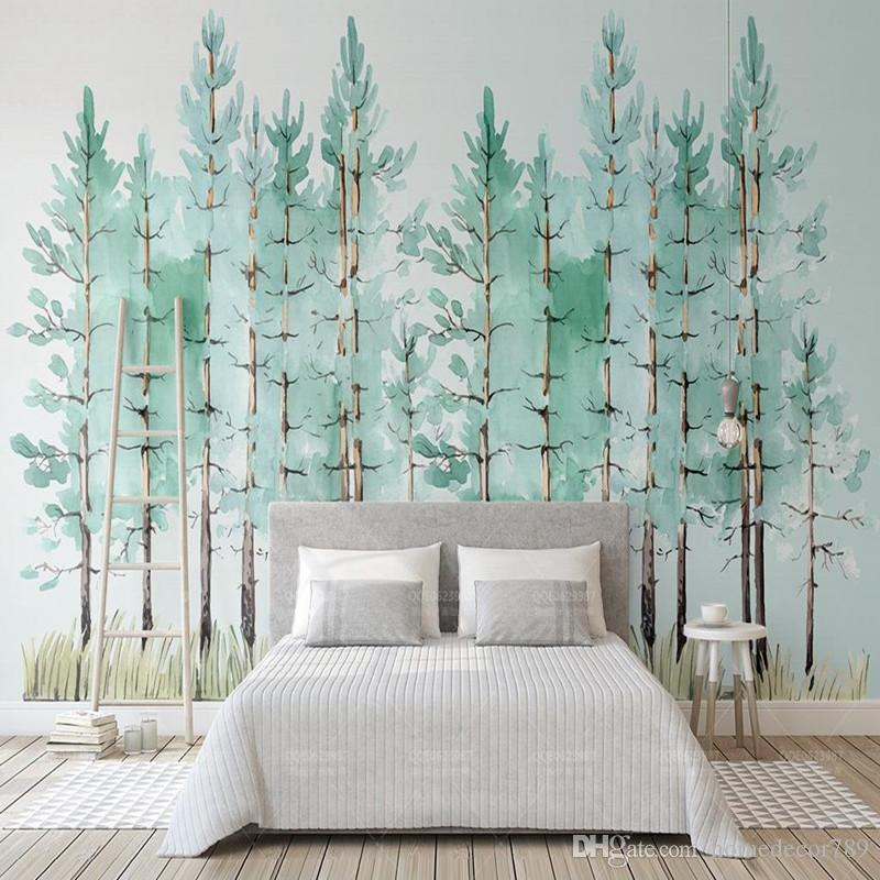 Custom 3D Photo Wallpaper Mural Modern Mint Green Fresh Wood Nordic TV  Background Wall Painting Wallpaper Bedroom Living Room Decor Computer  Wallpaper ...