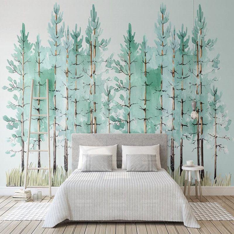 Custom 3d Photo Wallpaper Mural Modern Mint Green Fresh Wood Nordic