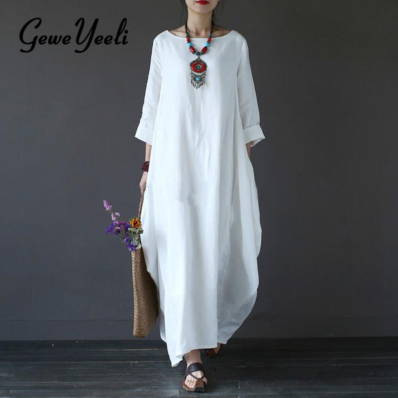48db2bfbb8 2018 Summer Plus Size Dresses For Women 3xl 4xl 5xl Loose Cotton Linen Dress  White Boho Shirt Dress Long Sleeve Long Maxi Robe Sexy Cocktail Dresses  Short ...