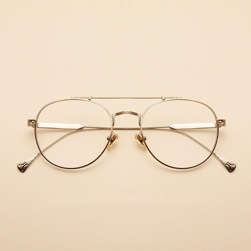 Brillenrahmen 3 Farben Mann Frau Retro Große Runde Brille Transparente Metall Brillen Rahmen Schwarz Silber Gold Brille Brillen Rabatte Verkauf